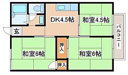 兵庫県明石市大久保町山手台2丁目の賃貸アパートの間取り