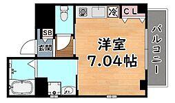 阪神本線 新在家駅 徒歩5分の賃貸マンション 2階ワンルームの間取り