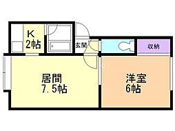ブレスK52 2階1LDKの間取り