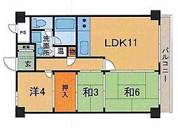ライオンズマンション西線[5階]の間取り