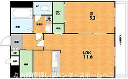 JR片町線(学研都市線) 藤阪駅 徒歩17分の賃貸マンション 2階1LDKの間取り