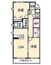 岡山県倉敷市西中新田丁目なしの賃貸マンションの間取り