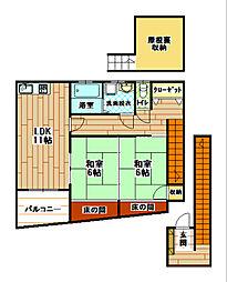 福岡県北九州市小倉北区魚町4丁目の賃貸アパートの間取り