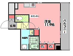 J-Style Doi(ジェイスタイルドイ) 3階ワンルームの間取り