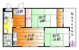コーポサニープレース[1階]の間取り