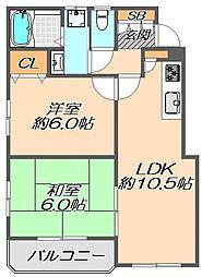 兵庫県神戸市灘区鶴甲3丁目の賃貸マンションの間取り