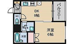 エル三津屋[6階]の間取り