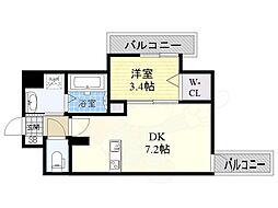 JR東海道・山陽本線 東淀川駅 徒歩1分の賃貸マンション 4階1DKの間取り