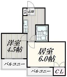 東京都大田区北馬込1丁目の賃貸マンションの間取り