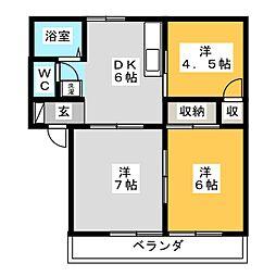 ドミ・アゼリア B棟[1階]の間取り