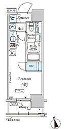 東京メトロ東西線 門前仲町駅 徒歩5分の賃貸マンション 8階ワンルームの間取り