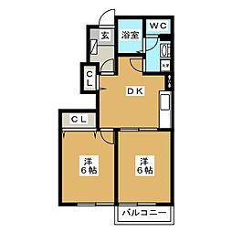 静岡県富士宮市淀平町の賃貸アパートの間取り