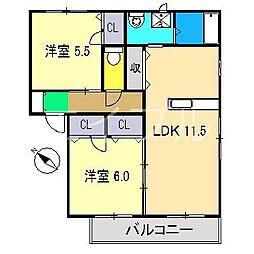 コンフォート A棟[2階]の間取り