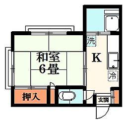 MihamaII 2階1Kの間取り