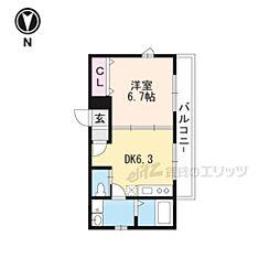 京阪宇治線 宇治駅 徒歩4分の賃貸アパート 3階1DKの間取り