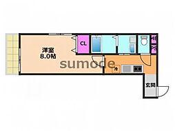 フジパレス阪急茨木北 2階1Kの間取り