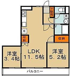 メゾン・ド・ツナキ 3階2LDKの間取り
