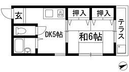 オカダハイツパート2-1号棟[1階]の間取り