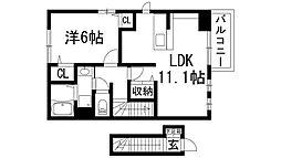 兵庫県宝塚市安倉北3丁目の賃貸アパートの間取り