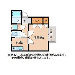 静岡県静岡市葵区大岩2丁目の賃貸アパートの間取り