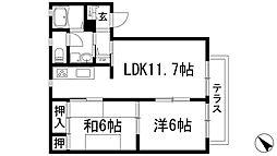 パークサイド安倉[1階]の間取り