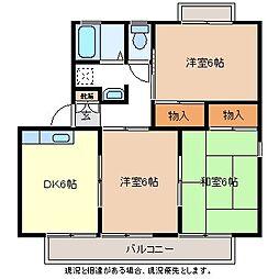 コーポラス稲田A棟[1階]の間取り