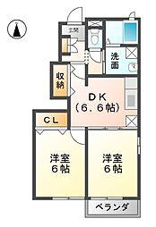 愛知県あま市上萱津川崎の賃貸アパートの間取り
