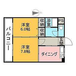 サンヒーローマンション別府駅前 6階2DKの間取り