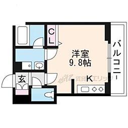 JR東海道・山陽本線 草津駅 徒歩5分の賃貸マンション 3階ワンルームの間取り