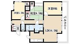 愛知県名古屋市緑区乗鞍1丁目の賃貸マンションの間取り