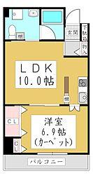 ポムダムール 5階1LDKの間取り