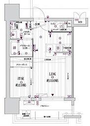 グランフォーレプライム高宮 10階1LDKの間取り