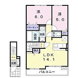 甘木鉄道 甘木駅 バス2分 依井東下車 徒歩4分の賃貸アパート 2階2LDKの間取り
