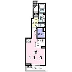 JR横浜線 相原駅 徒歩3分の賃貸アパート 1階1Kの間取り