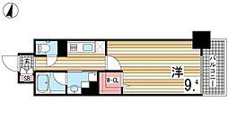 JR東海道・山陽本線 摂津本山駅 徒歩10分の賃貸マンション 6階1Kの間取り
