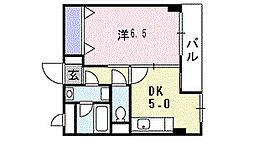 南海高野線 初芝駅 徒歩15分の賃貸アパート 2階1DKの間取り