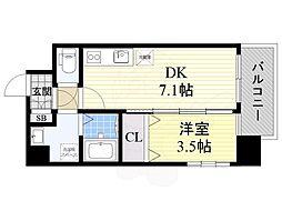 阪急京都本線 正雀駅 徒歩5分の賃貸マンション 7階1DKの間取り