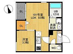 JR仙石線 宮城野原駅 徒歩6分の賃貸アパート 1階1LDKの間取り