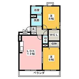 ロイヤルガーデンB[1階]の間取り