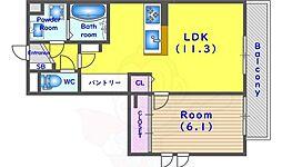 JR東海道・山陽本線 向日町駅 徒歩7分の賃貸アパート 2階1LDKの間取り