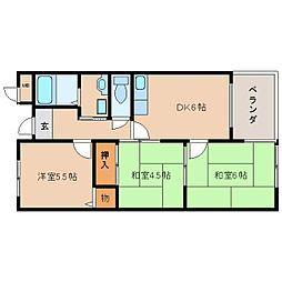 奈良県生駒市萩の台の賃貸マンションの間取り