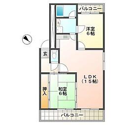 滋賀県愛知郡愛荘町中宿の賃貸マンションの間取り