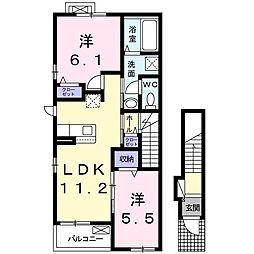 レガーロM 2階2LDKの間取り
