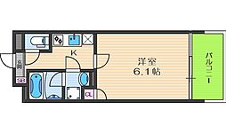 JR東西線 大阪天満宮駅 徒歩2分の賃貸マンション 6階1Kの間取り
