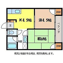 長野県伊那市上の原の賃貸アパートの間取り