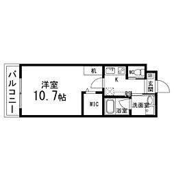 S.F北仙台ステーション 3階1Kの間取り