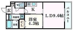 Opus One Nishinomiya 5階1LDKの間取り