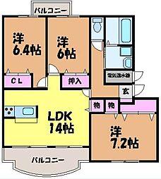 愛媛県松山市西石井5丁目の賃貸マンションの間取り