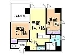ソレイユ中島 4階2LDKの間取り