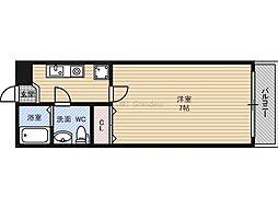 アンシャンテビル 4階1Kの間取り